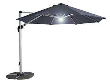 Image of Hartman Garden Cantilever Parasol 3m with LED light - Grey/Silver