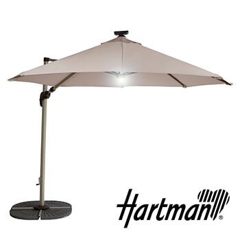 Image of Hartman Garden Cantilever Parasol 3m with LED light - Champagne/Linen