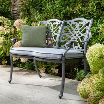 Image of Hartman Capri 2 Seat Bench in Antique Grey / Platinum