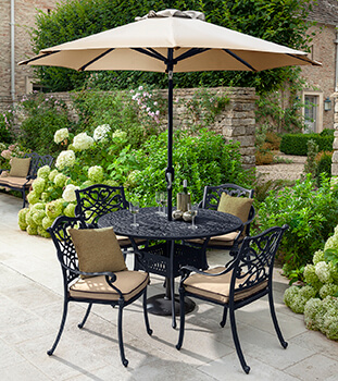 Image of Hartman Capri 4 Seat Round Dining Set in Bronze/Amber - NO PARASOL