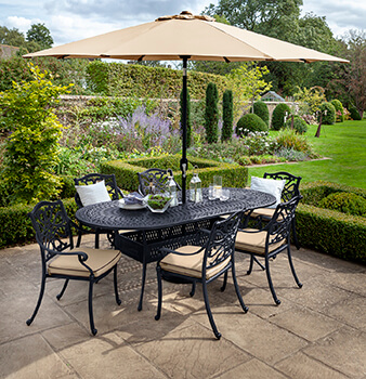 Image of Hartman Capri 6 Seat Oval Dining Set in Bronze & Amber