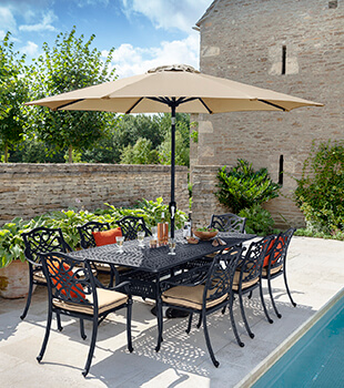 Image of Hartman Capri 8 Seat Rectangular Dining Set in Bronze/Amber - NO PARASOL