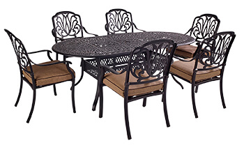 Image of Hartman Amalfi Comfort 6 Seater Oval Dining Set in Bronze / Amber