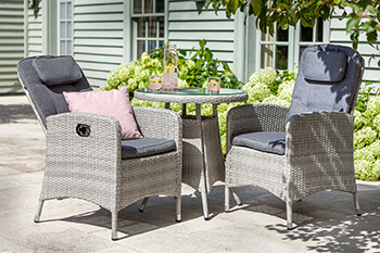 Image of Hartman Curve Reclining Bistro Set in Cool Grey / Charcoal