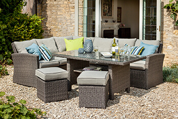 Image of 2018 Hartman Madison Weave Rectangular Casual Dining Set in Slate / Stone + Cover