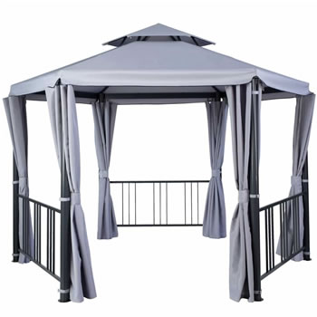 Image of Hartman Hexagon Gazebo with Curtains in Grey