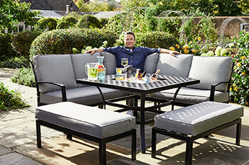 Image of 2019 Jamie Oliver Corner Sofa Grilling Set in Riven / Pewter