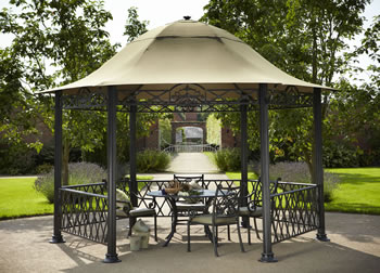 Image of Hartman Kew Cast Aluminium Pavillion Gazebo with Curtains