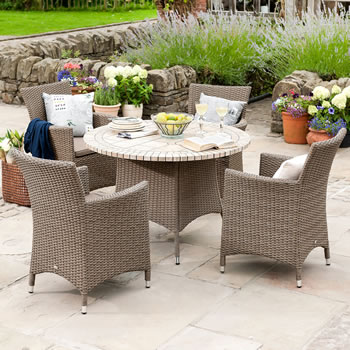 Image of Madison Weave 4 Seater Round Set with Ceramic Table Sepia/Henna