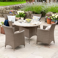 Small Image of Madison Weave 4 Seater Round Set with Ceramic Table Sepia/Henna