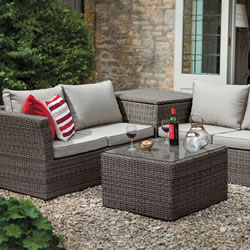 Small Image of 2018 Hartman Madison Essential Corner Set with Cushion Storage Slate/Stone