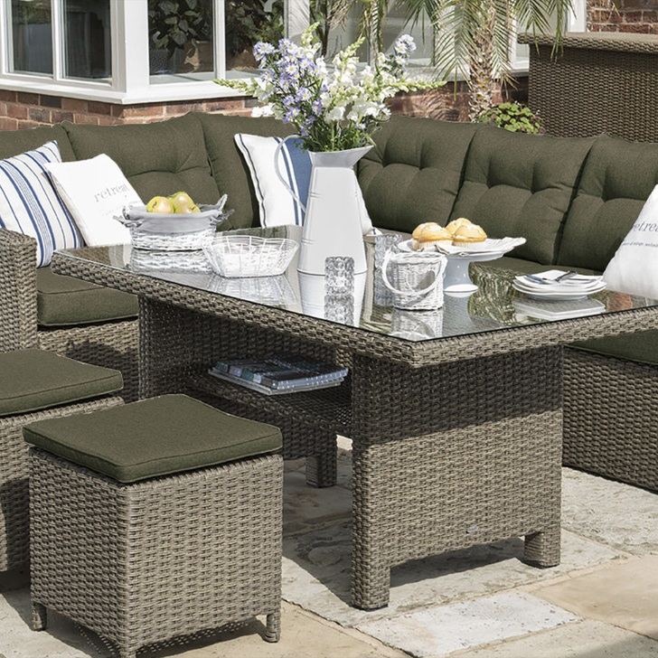 Small Image of Madison Weave Casual Dining Set by Hartman Oyster/Olive