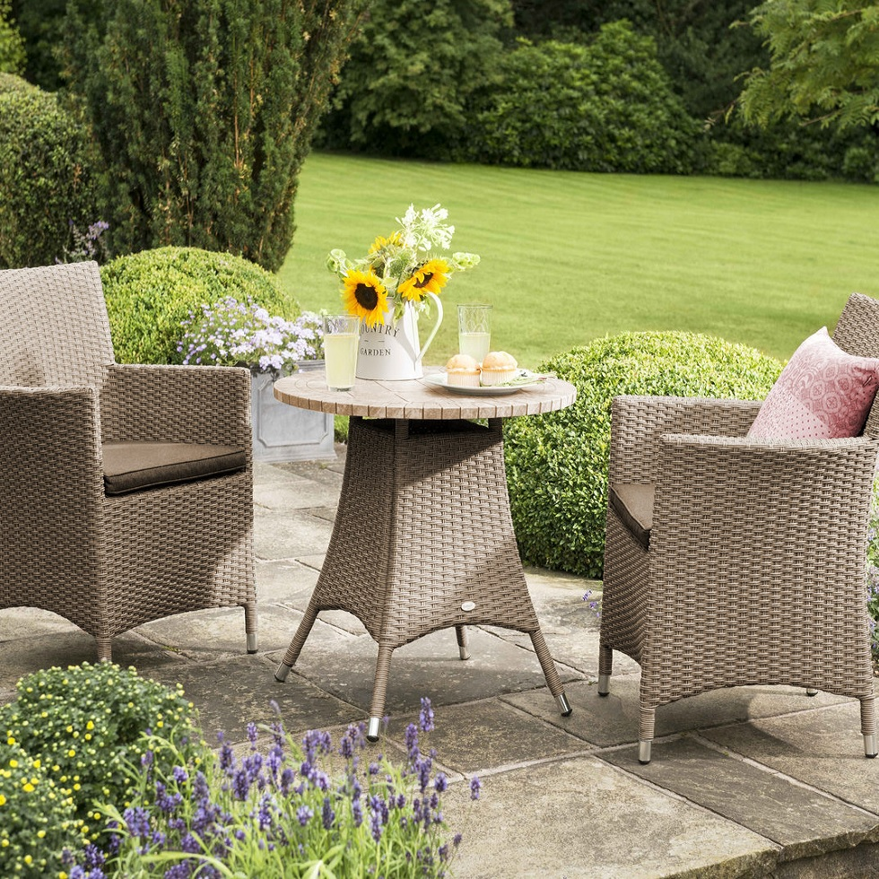 Small Image of Madison Weave Bistro Furniture Set with Ceramic Table Top Sepia/Henna