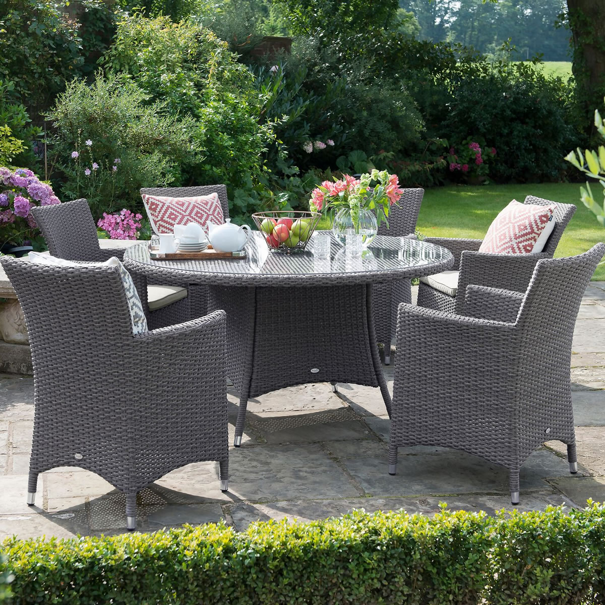 2018 Hartman Madison Weave 6 Seater Round Set In Slate