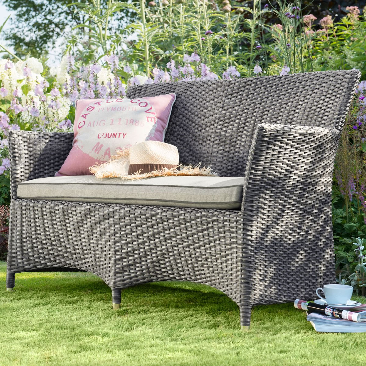2018 hartman madison weave 2 seater bench in slate stone for Gardening 4 less reviews