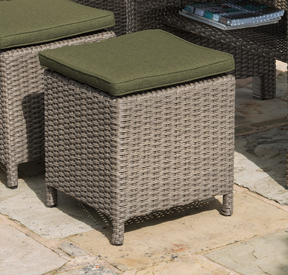 Small Image of Madison Weave Stool Oyster with Olive Cushion
