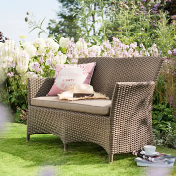 Image of Madison Weave 2 Seater Garden Bench by Hartman Sepia/Henna