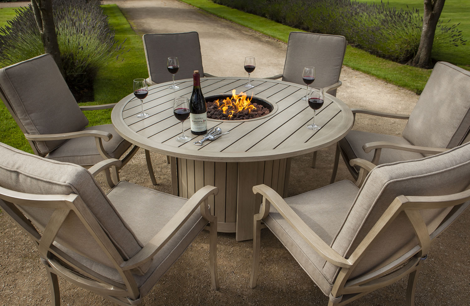 Portland Round 6 Seater Dining Set With Fire Pit 1650 Garden4Less UK Shop