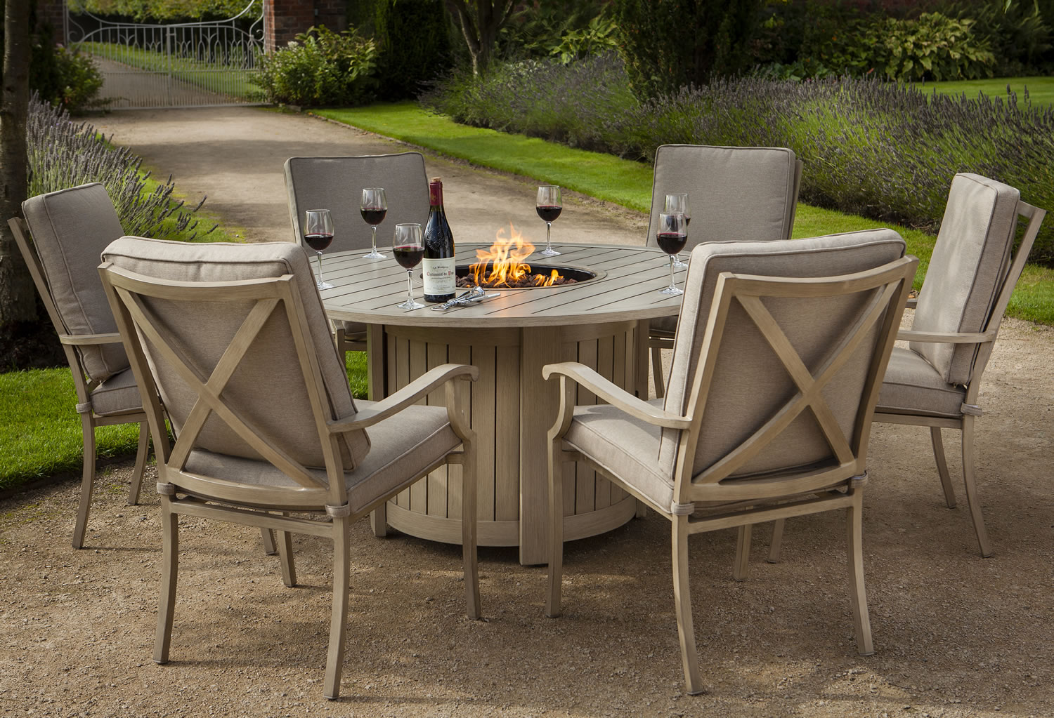 Portland round 6 seater dining set with fire pit 163 1650