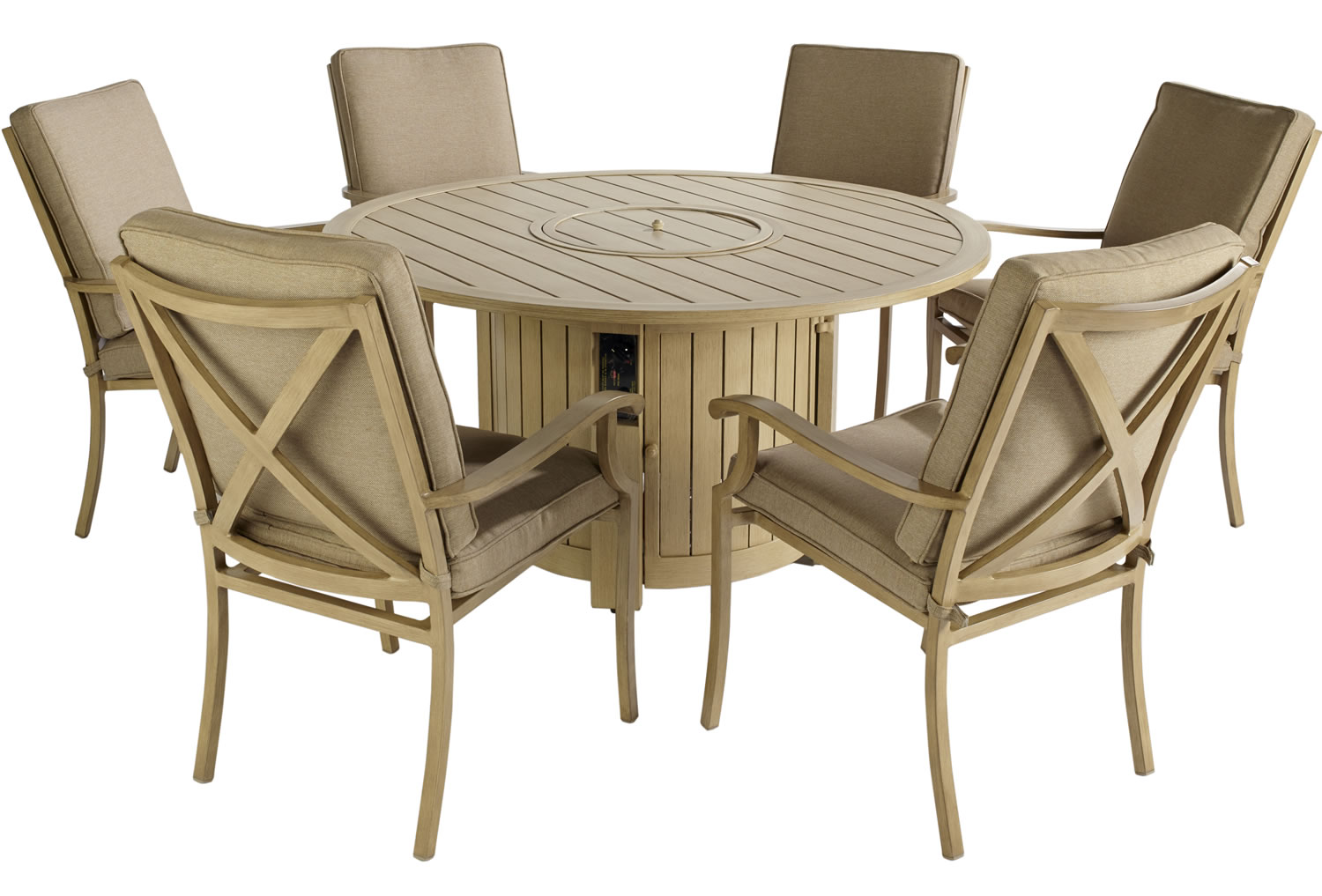 Portland Round 6 Seater Dining Set With Fire Pit 1650
