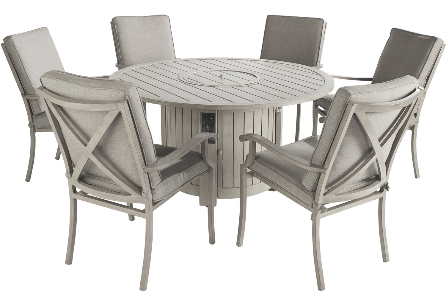 Portland Round 6 Seater Dining Set with Fire Pit 1290