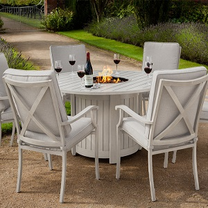 Image of Portland Round 6 Seater Dining Set with Fire Pit