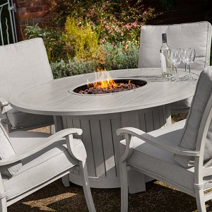 Portland Round 4 Seater Lounge Set With Fire Pit 163 1145