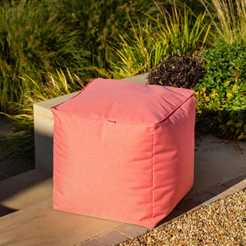 Image of Hartman Red Coral 45cm Cube Weatherproof Pouffe
