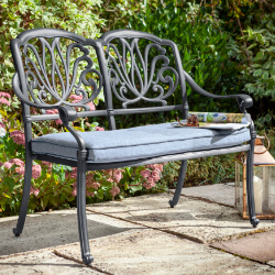 Small Image of Hartman Amalfi Comfort 2 Seater Bench in Antique Grey /  Platinum