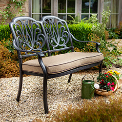 Small Image of Hartman Amalfi Comfort 2 Seater Bench in Bronze / Amber
