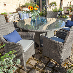Small Image of Hartman Appleton 6 Seat Round Dining Set in Slate / Stone - NO PARASOL