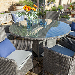 Extra image of Hartman Appleton 6 Seat Round Dining Set in Slate / Stone - NO PARASOL