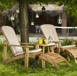 Small Image of Hampton 2 seater FSC Acacia Deck Chair and Coffee Table Set