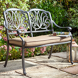 Small Image of 2019 Hartman Amalfi 2 Seat Bench in Bronze / Amber