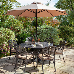 Small Image of Hartman Amalfi 6 Seat Round Dining Set in Bronze / Amber