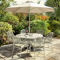 Small Image of Hartman Amalfi 6 Seat Round Dining Set in Maize / Wheatgrass - NO PARASOL