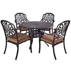 Small Image of Hartman Amalfi Comfort 4 Seater Round Dining Set in Bronze / Amber