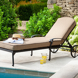 Small Image of Hartman Amalfi Lounger With Cushion in Bronze / Amber