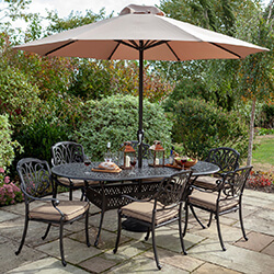 Small Image of 2019 Hartman Amalfi 6 Seat Oval Dining Set in Bronze/Amber