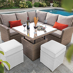 Small Image of Hartman Appleton Square Casual Dining Adjustable Table Set + Cover - Bark / Sand