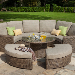 Small Image of Hartman Bali Curved Lounge Weave Furniture Set in Chestnut / Tweed