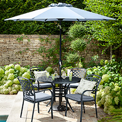 Small Image of Hartman Berkeley 4 Seat Round Dining Set in Antique Grey / Platinum - NO PARASOL