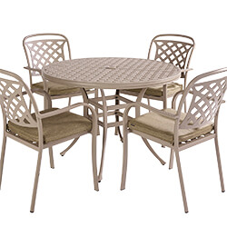 Extra image of Hartman Berkeley 4 Seat Round Dining Set in Maize / Wheatgrass - NO PARASOL