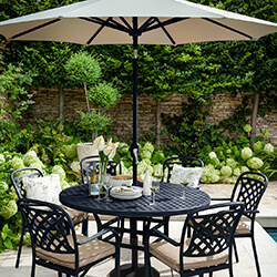 Small Image of Hartman Berkeley 6 Seat Round Dining Set in Bronze / Amber - NO PARASOL
