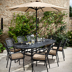 Small Image of Hartman Berkeley 8 Seat Oval Dining Set in Bronze / Amber - NO PARASOL