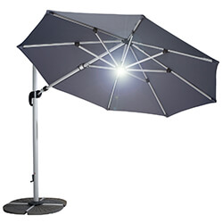 Extra image of Hartman Garden Cantilever Parasol 3m with LED light - Grey/Silver