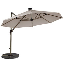 Extra image of Hartman Garden Cantilever Parasol 3m with LED light - Champagne/Linen