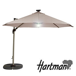 Small Image of Hartman Garden Cantilever Parasol 3m with LED light - Champagne/Linen