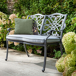 Small Image of Hartman Capri 2 Seat Bench in Antique Grey / Platinum