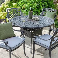 Small Image of Hartman Capri 4 Seat Round Dining Set in Antique Grey - NO PARASOL